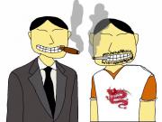 Directeur Mo en zijn tweelingbroer Long